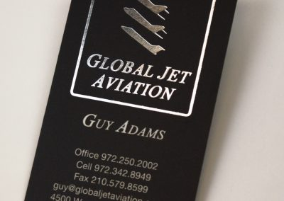 Global Jet Aviation Silver Foil Business Card