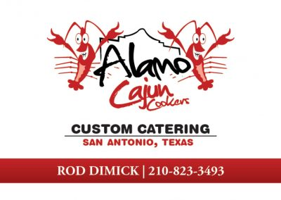 Alamo Cajun Cookers Business Card