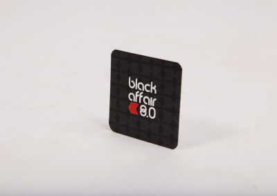 Black Affair Square Spot UV Silk Business Card