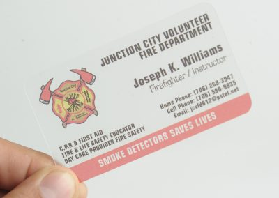Junction City Volunteer Fire Department Business Card